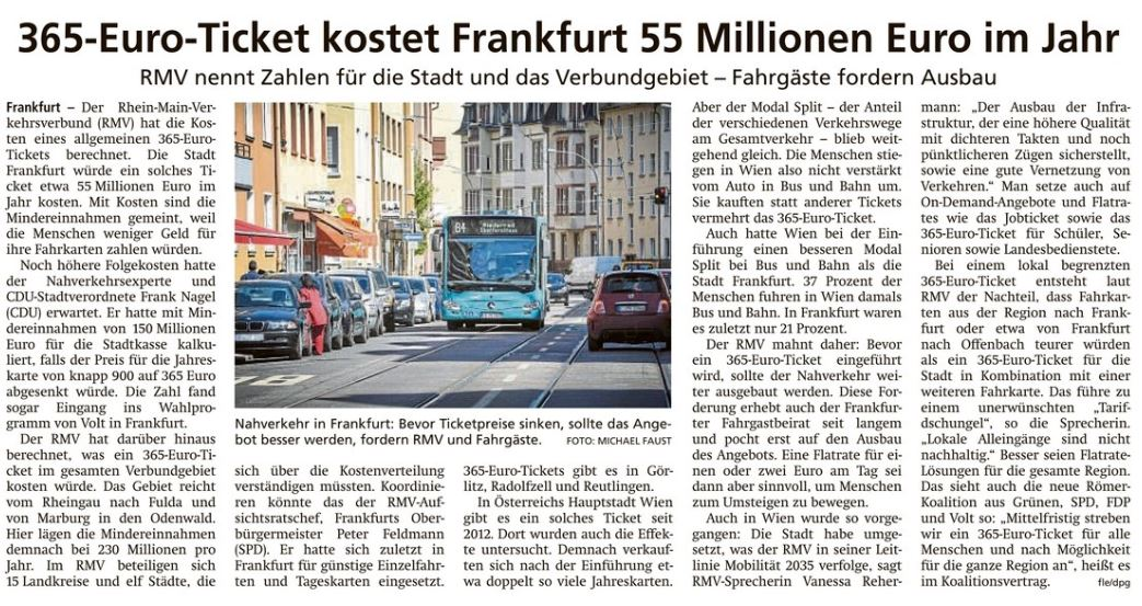 365-Euro-Ticket kostet Frankfurt 55 Millionen Euro im Jahr