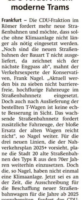 CDU fordert mehr moderne Trams